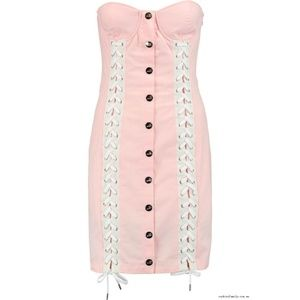 Moschino Love Pink Lace Up Bustier Dress Size 8